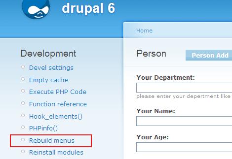 Rebuild menu using devel module
