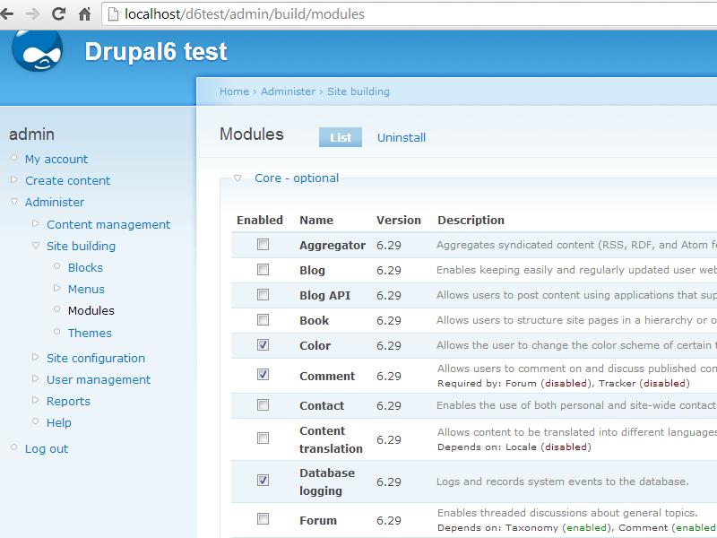 Drupal module list page