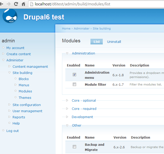 Module list page without Module filter